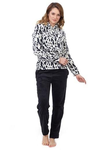 Pamuk & Pamuk Kadın Siyah Leopar Desenli Pijama Takımı Beyaz